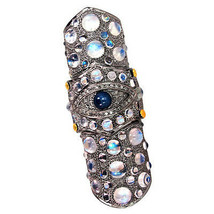 Sapphire/Moonstone 14k Gold EVILEYE Knuckle Ring 925 Silver Pave Diamond... - $741.09