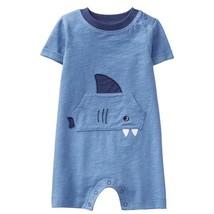 NWT Gymboree True Blue Summer Shark Baby Boys Blue Romper Sunsuit Jumpsuit - $10.99