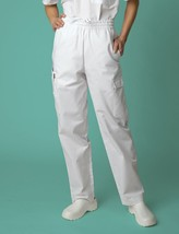 Scrub Pants Adar 506 Uniform White 2XL Unisex Multi Pocket Cargo New - $19.37