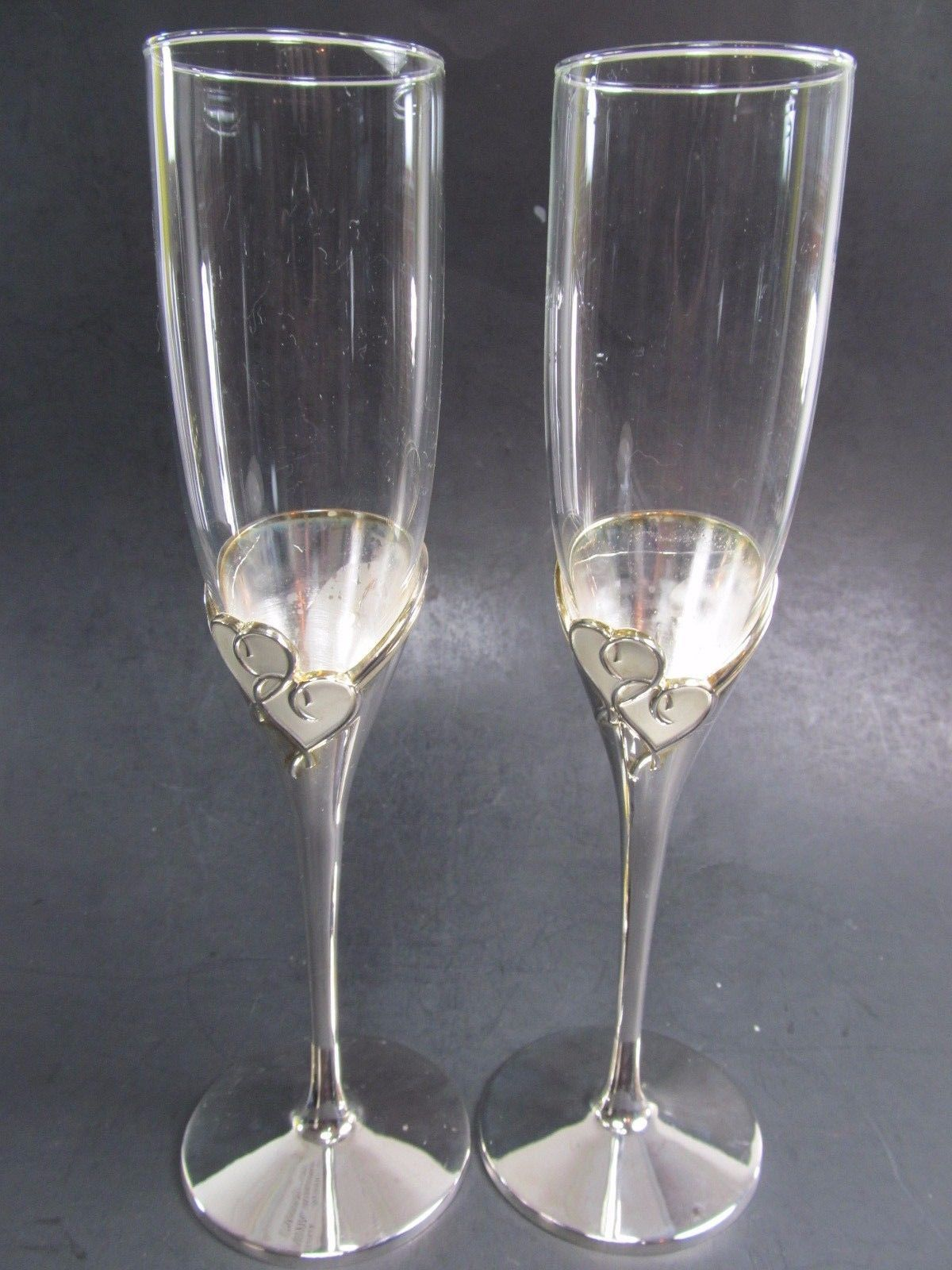 2 LENOX FOREVERMORE Crystal Silverplate Heart Wedding Toasting Champagne Flutes