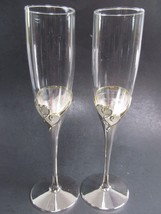 2 LENOX FOREVERMORE Crystal Silverplate Heart Wedding Toasting Champagne... - $61.74