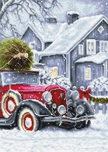 Modern Counted Cross Stitch Embroidery Kit Winter Holidays  - $24.61