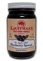 Kauffman's Blueberry Fruit Spread, No Sugar Added, 9 Oz. Jar (Pack of 4) - $25.80
