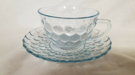 Vintage Anchor Hocking Depression Glass Bubble Blue Cup and Saucer (circ... - $6.75