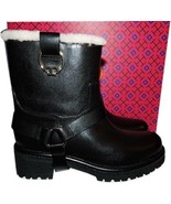 $495 Tory Burch HENRY Leather Shearling Fur Harness Boots Ankle Booties 7.5 - $259.00
