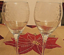 """Wine Goblets (2) with grapes and vines engraved 8.5"""" tall - $7.92"""