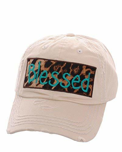Distressed Vintage Style Embroidered Leopard Blessed Baseball Hat (Stone)