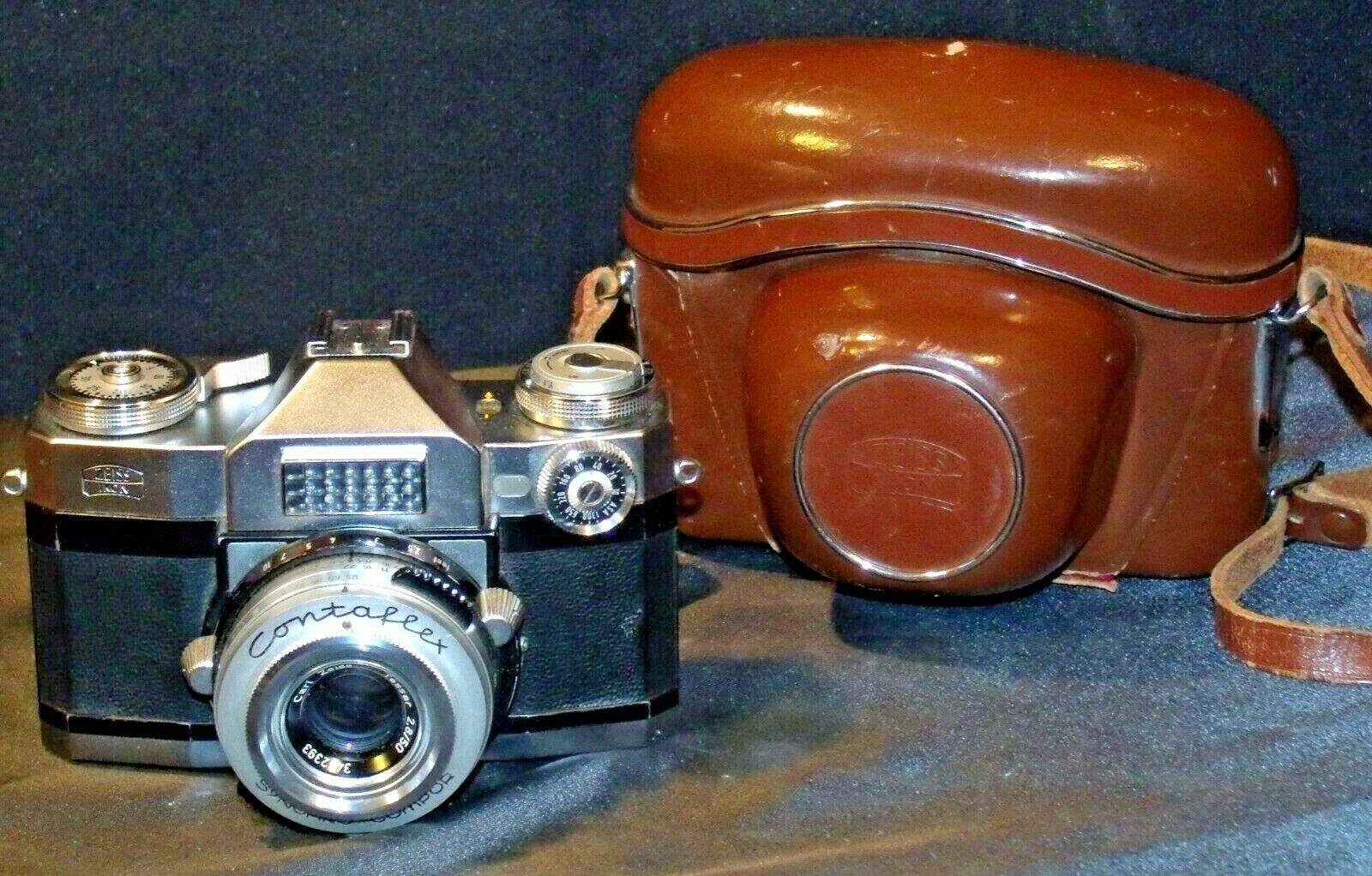 Zeiss Ikon Contaflex Super Camera with hard leather Case AA-192012 Vintage