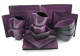 Elama Mulberry Loft 16 Piece Modern Premium Stoneware Dinnerware Set wit... - $74.39