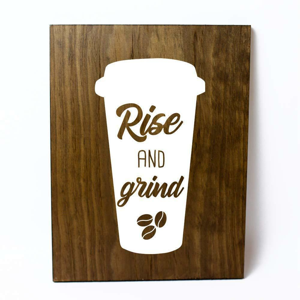 Rise and Grind Coffee Lover Solid Pine Wood Wall Plaque Sign Home Decor