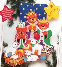 Sunset  Three Wise Bears Kings Manger Nativity Christmas Felt Stocking K... - $39.95