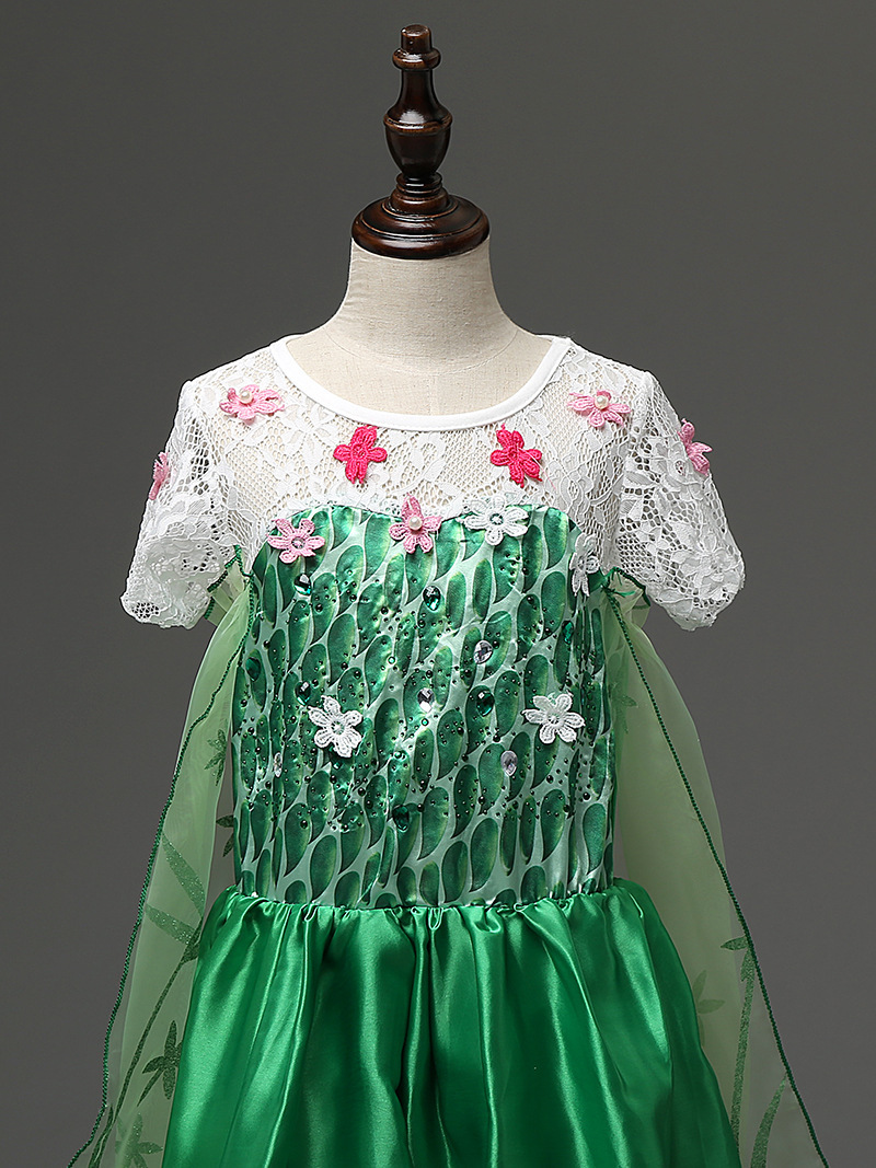 Sweep Train Elsa Pricess Flower Girl Dresses  Green Cosplay Pageant Prom Gown