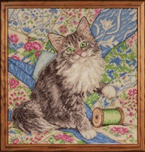 Cat On Quilt Counted Cross Stitch Kit Kitten Thread New 14 Ct Aida Design Works - $27.15