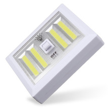 Battery Powered 4 COB LED Night Light Wall Switch Self Stick Closet 6000... - $13.95