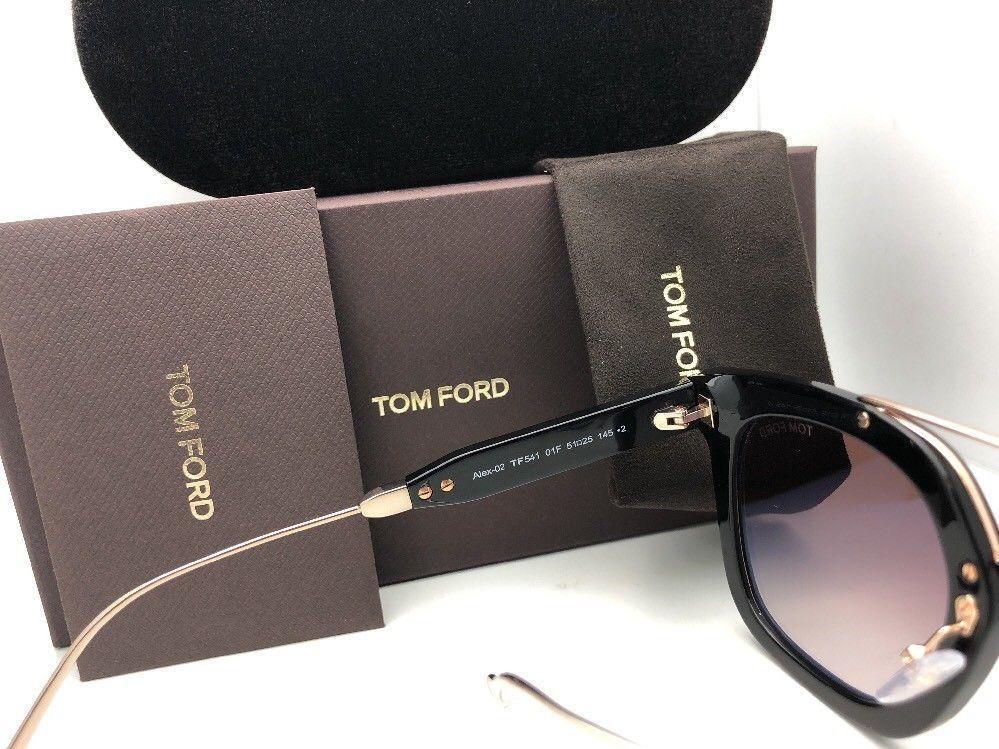 New TOM FORD Sunglasses ALEX-02 TF 541 01F 51-25 145 Black & Gold w/Brown+Mirror image 9