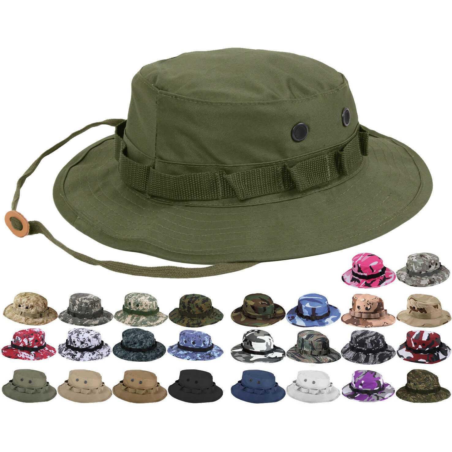 Primary image for Tactical Boonie Hat Military Camo Bucket Wide Brim Sun Fishing Bush Booney Cap