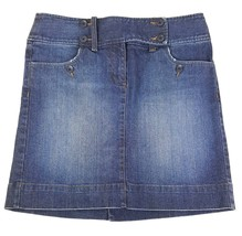 Ann Taylor Loft Sz 4 Sailor Front Distressed Blue Jean Denim Mini Skirt Stretch - $14.01