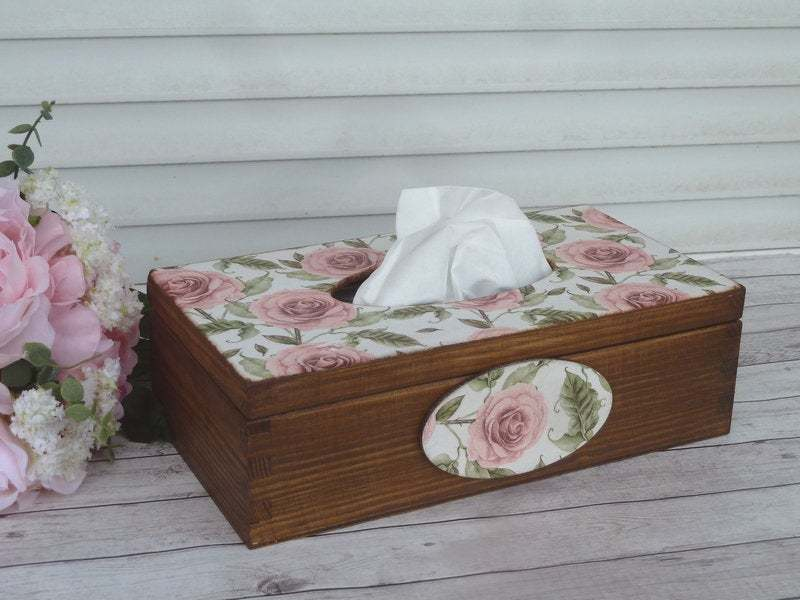 Wooden Tissue Box Cover. Mother's Day Gift. Pink Napkins Box Cover. - $32.00