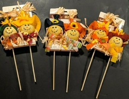 """Fall Harvest Scarecrow Picks Male And Female 11"""" Tall Choose From  2 Styles - $6.00"""
