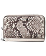 NWT Michael Kors Women's Leather Embossed Wristlet Wallet, Gray - $88.80