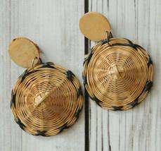 vintage large sombrero hat clip earrings drop dangle earrings - $24.74