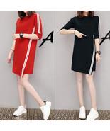 Women Casual Summer Half-length Sleeves Casual Asymmetric Long Dress red_L - $20.95
