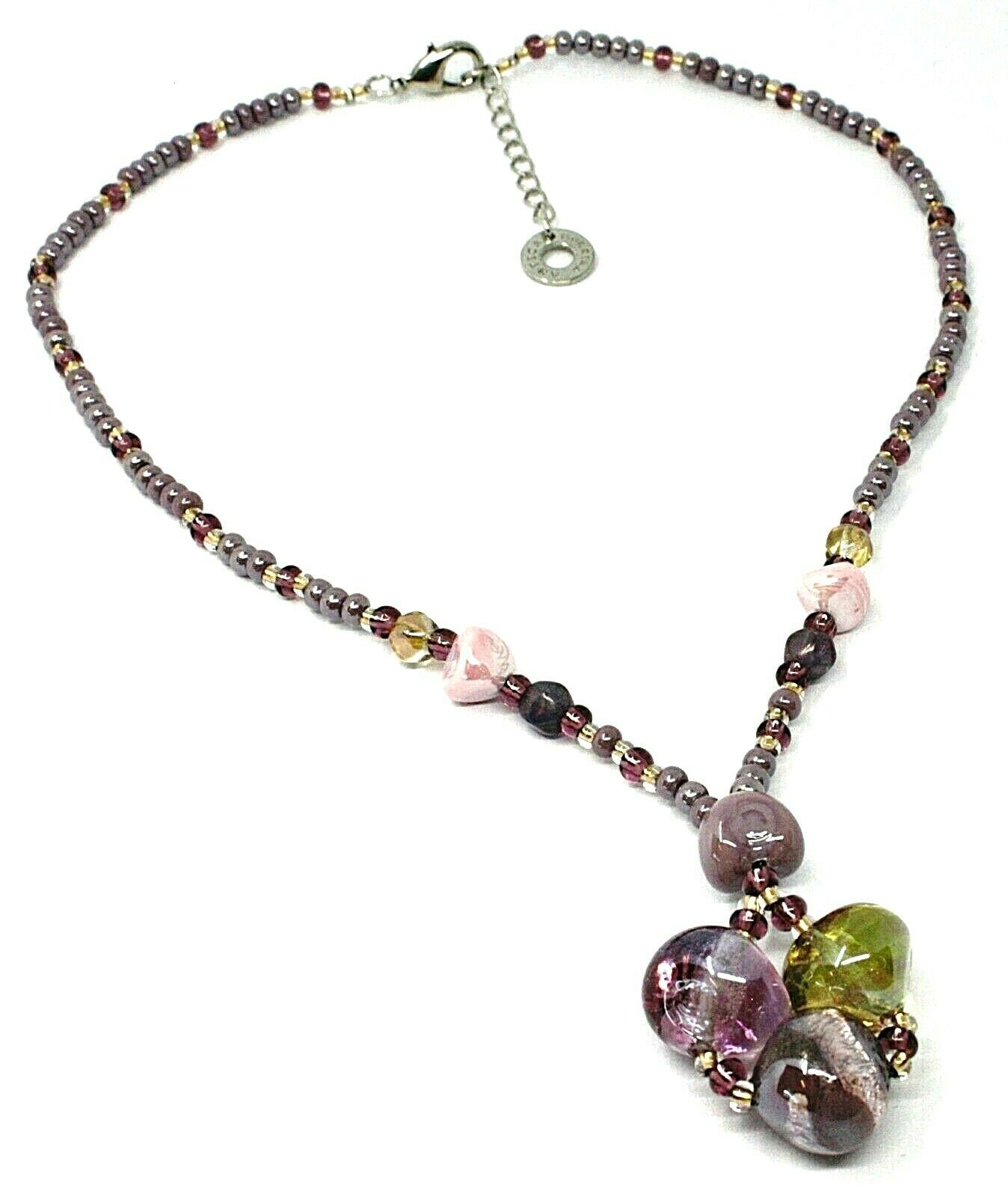 Necklace Antica Murrina Venezia, CO986A05, Nugget Purple Pendant, 17 11/16in,