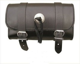 """10"""" Black Real Cowhide Leather Tool Bag W/ Concho For Harley Davidson - $37.36"""