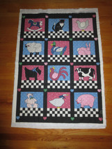 "Cheater Animal Checkerboard Square Baby Or Crib Quilt To Complete - 32"" X 44"" - $17.77"