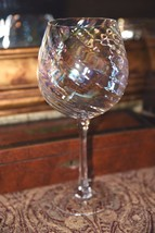 1 Large Water Goblet Wine Glass Iridescent Rainbow Swirl LARGER SIZE  - $24.99