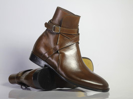 Handmade Men's Brown Leather High Ankle Monk Strap Jodhpurs Boots image 5