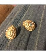 Swarovski Swan Signed Pear Shape Gold Pierced Earrings (1220) - $29.70