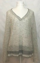 Anthropologie Knitted & Knotted Sweater Alpaca Wool Layered V Neck Gray sz M - $24.95