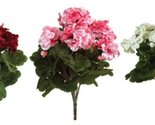 """Pack of 6 Red, White and Pink Artificial Geranium Silk Flower Bush Plants 13"""""""