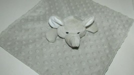 Elegant Baby Gray elephant Security Blanket minky dot Satin back - $7.12