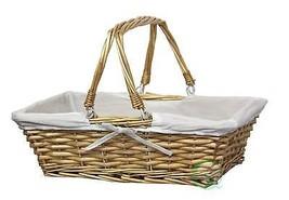 Vintiquewise(TM) Rectangular Willow Basket with White Fabric Lining - €13,39 EUR