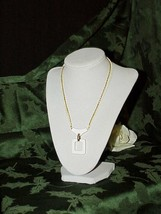 "1960's Trifari White Mod Geometric Squares Pendant Necklace 24"" Space age 2Tone - $24.74"