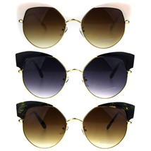 Womens Horned Oversize Metal Rim Cat Eye Diva Sunglasses - $12.95