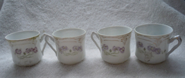 Vintage 4 Delicate Porcelain Chocolate Cups with Purple Flowers & Gold A... - $7.99