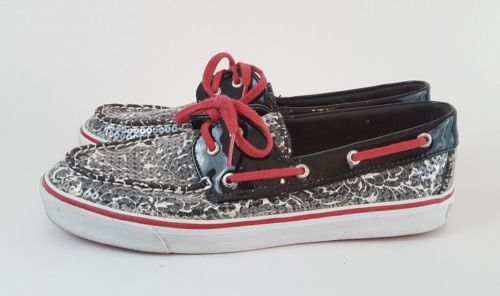 Sperry Top Sider 8.5M Boat Shoe Sequin Black White Floral Pink