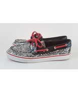 Sperry Top Sider 8.5M Boat Shoe Sequin Black White Floral Pink - $18.69