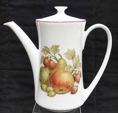 Pontesa Spain Four Cup Coffee Set Pot Sugar and Creamer Fruit Design Red Trim image 2