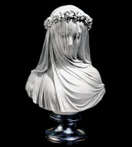 Veiled Maiden by Raphael Monti Sculpture Bust 19th century Replica Repro... - $57.92
