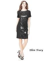 Black Knit Designers Sequin Front T-Shirt Dress Dinner Party Weekend Fun M - $34.95