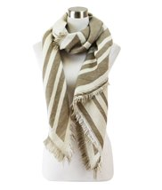 Le Nom Reversible Two Tone Pointed Striped Scarf (Taupe/Ivory) - $14.84