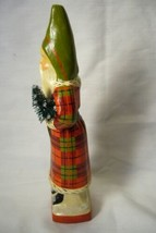 Vaillancourt Folk Art, Skinny Flannel Santa  with Tree singed by Judi! image 2