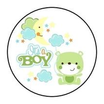 30 it's a boy baby shower stickers moon teddy bear stars green round fav... - $4.99