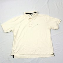 NAUTICA True Deck Shirt Ivory Polo Adult XL 1X Cotton Yacht Tee Collared Rugby T - $16.88