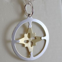 18K WHITE & YELLOW GOLD WIND ROSE, COMPASS CHARM, WINDS PENDANT MADE IN ITALY image 2