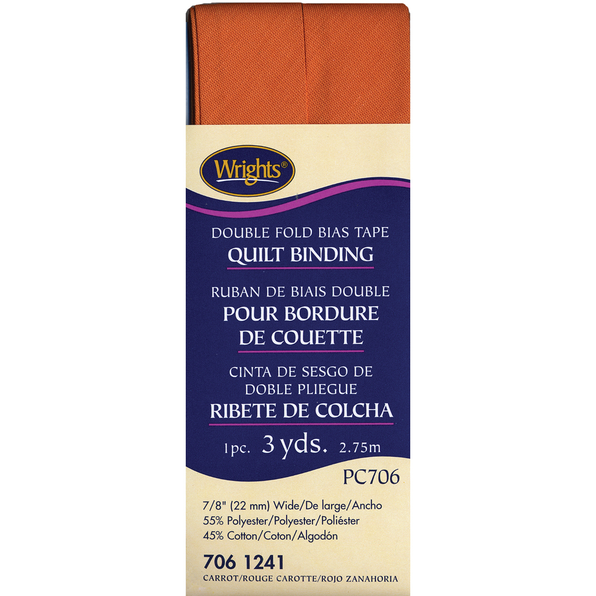 """Wrights Double Fold Quilt Binding .875""""X3yd-Carrot - $6.63"""